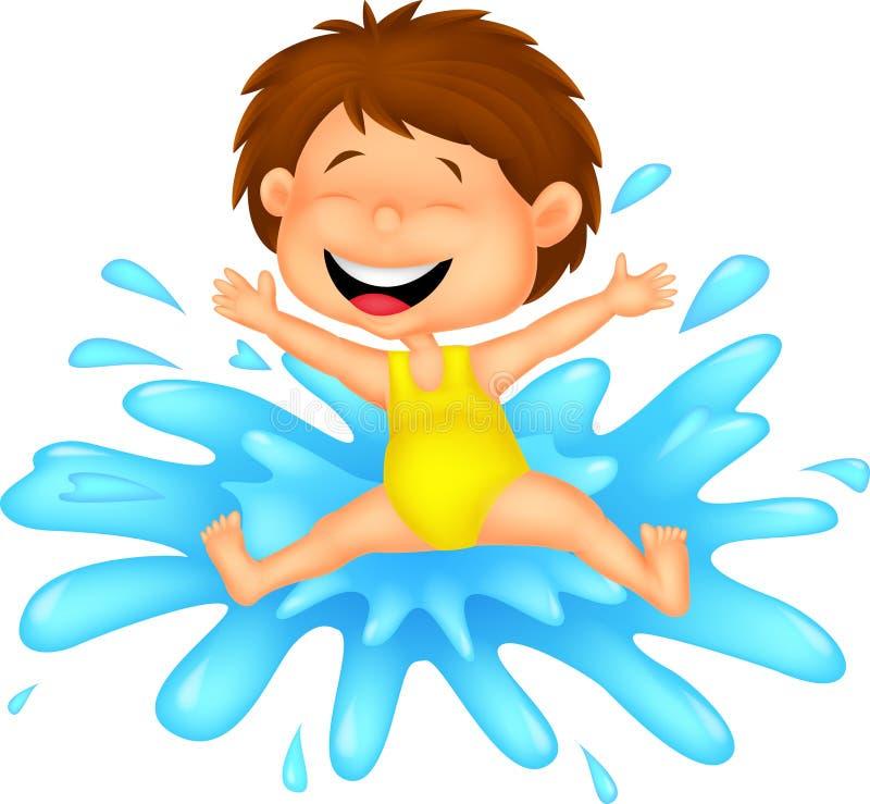 Шарж девушки скача к воде иллюстрация вектора