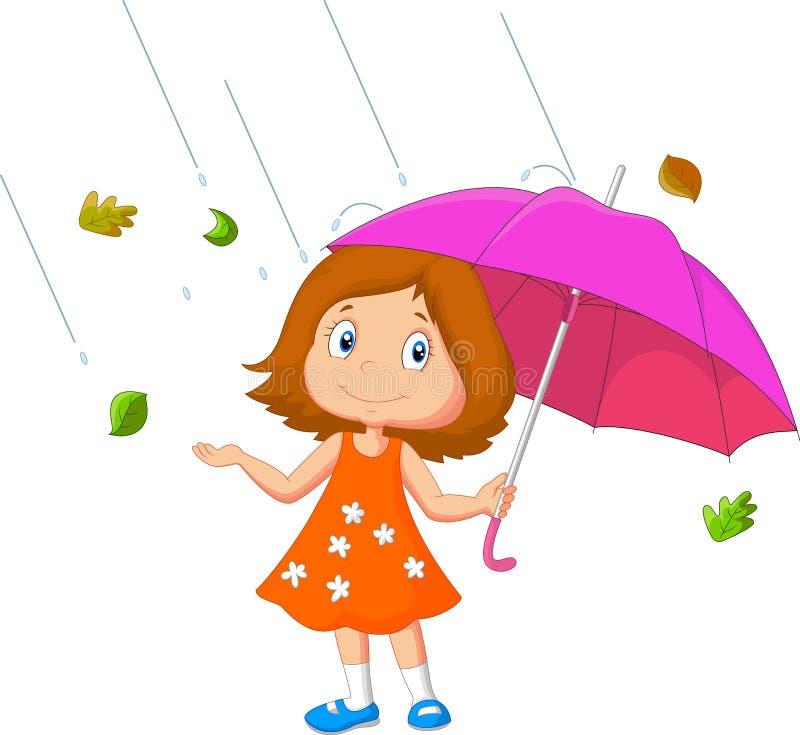 Шарж девушки с зонтиком бесплатная иллюстрация