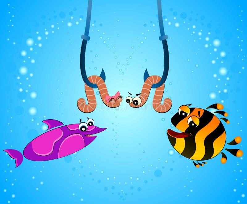 шарж ест глиста рыб смешного бесплатная иллюстрация