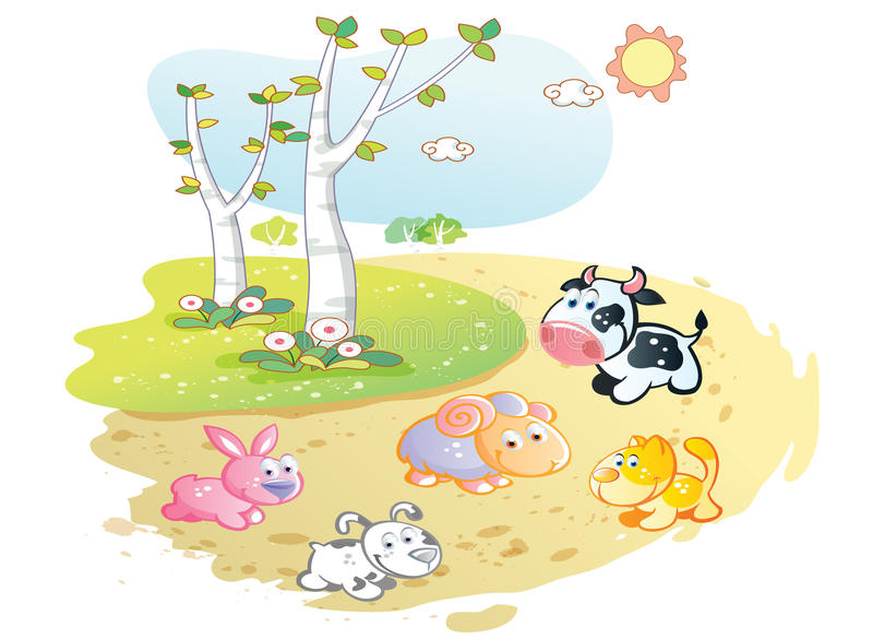 Шарж животноводческих ферм представляя в саде улицы иллюстрация вектора