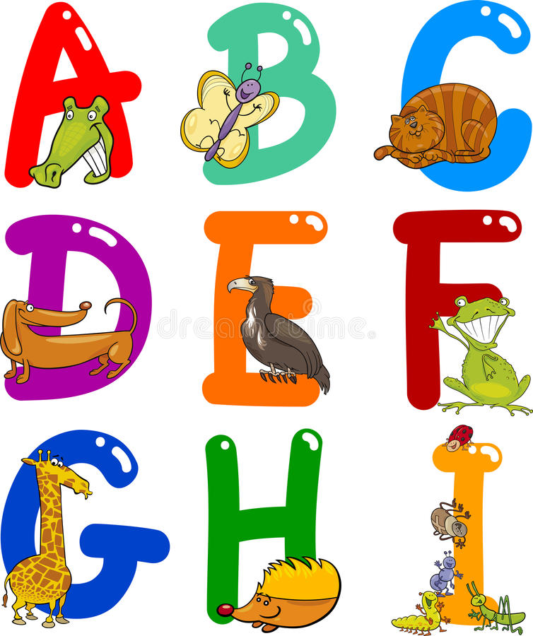 шарж животных алфавита иллюстрация штока