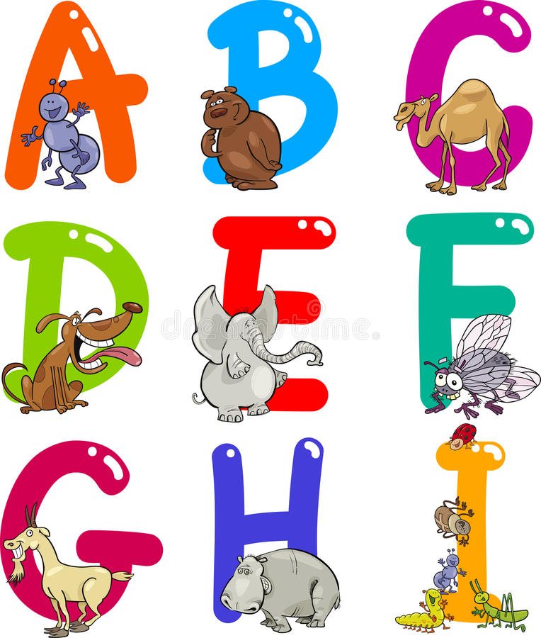 шарж животных алфавита бесплатная иллюстрация