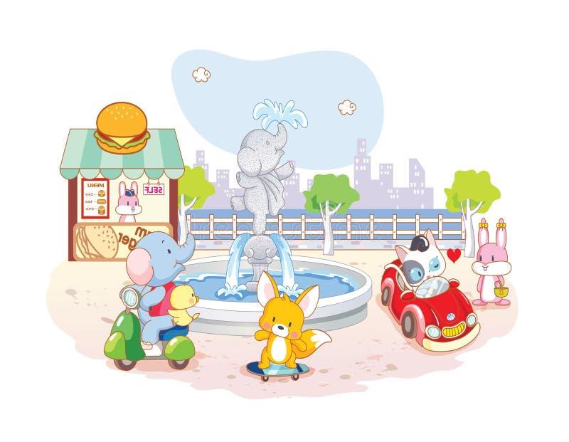 Шарж животных играя в парке иллюстрация вектора