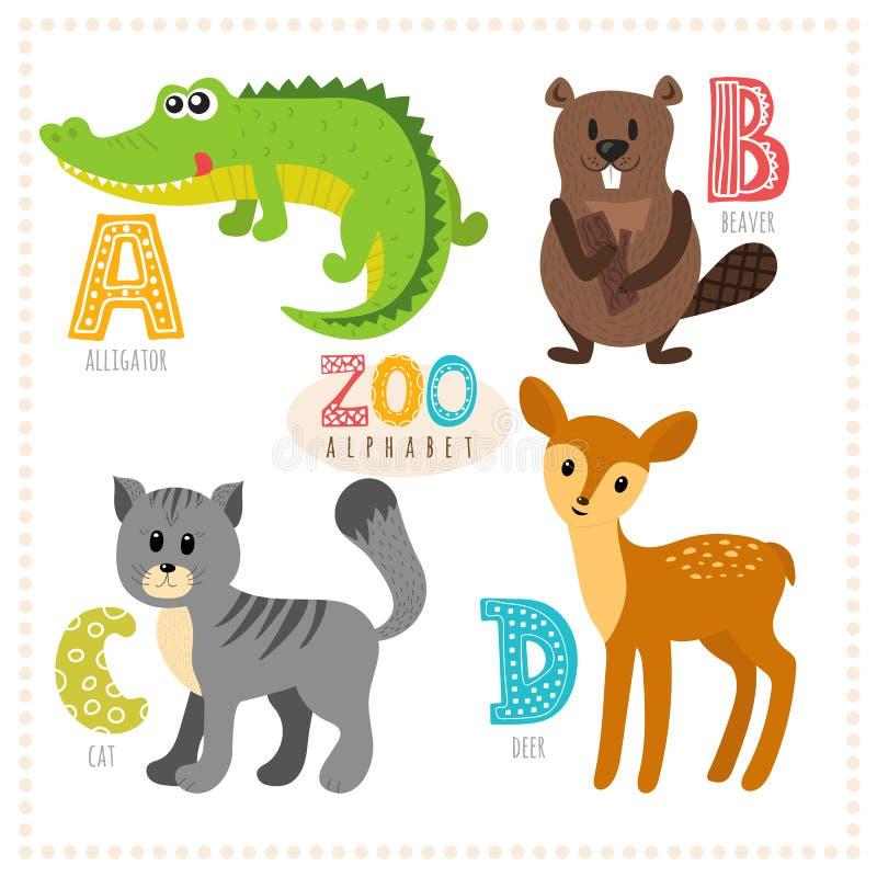 шарж животных милый Алфавит зоопарка с смешными животными A, b, c, иллюстрация штока