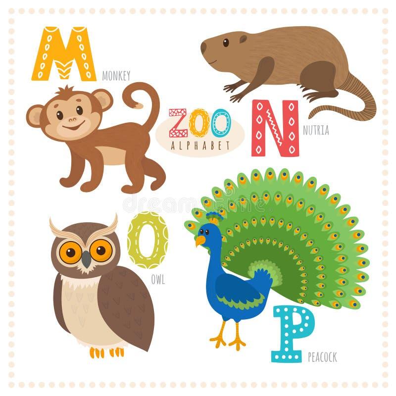 шарж животных милый Алфавит зоопарка с смешными животными M, n, o, иллюстрация вектора