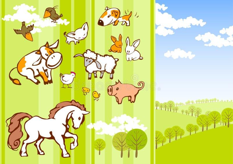 шарж животных иллюстрация вектора