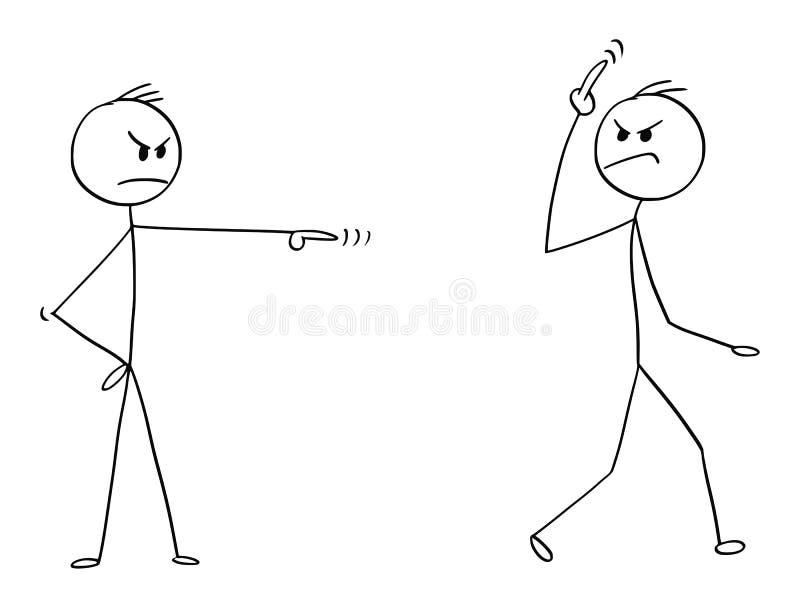 Шарж заносчивого человека, работник или бизнесмен увольнянный, Sacked или уволенный от работы и показывать соитию вас показывать  иллюстрация штока