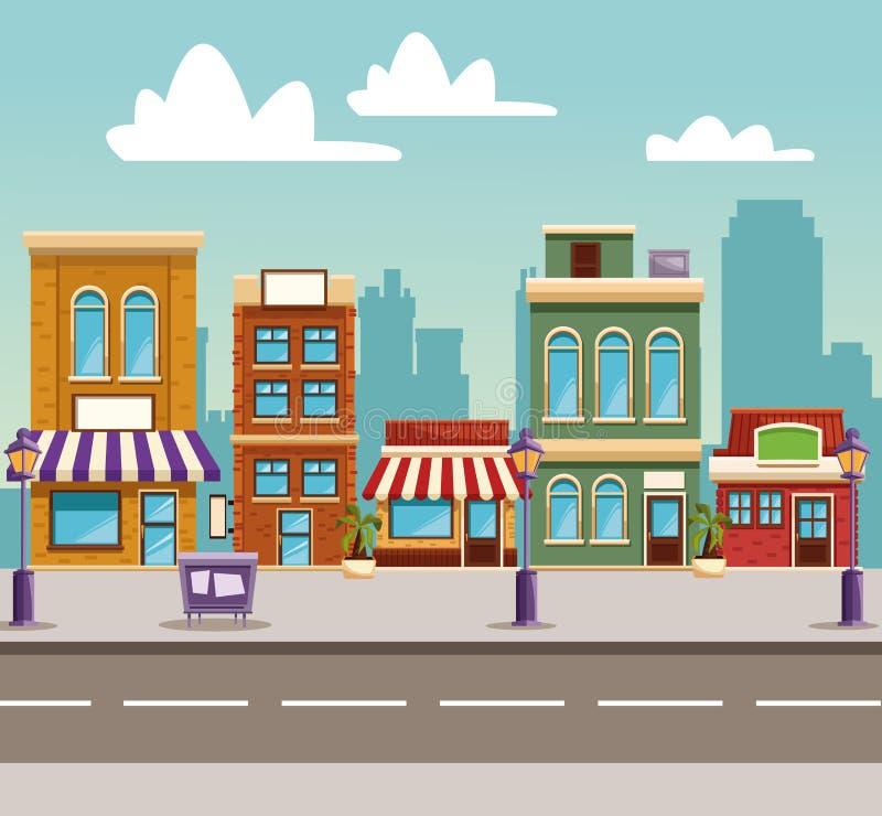Шарж зданий городка иллюстрация штока