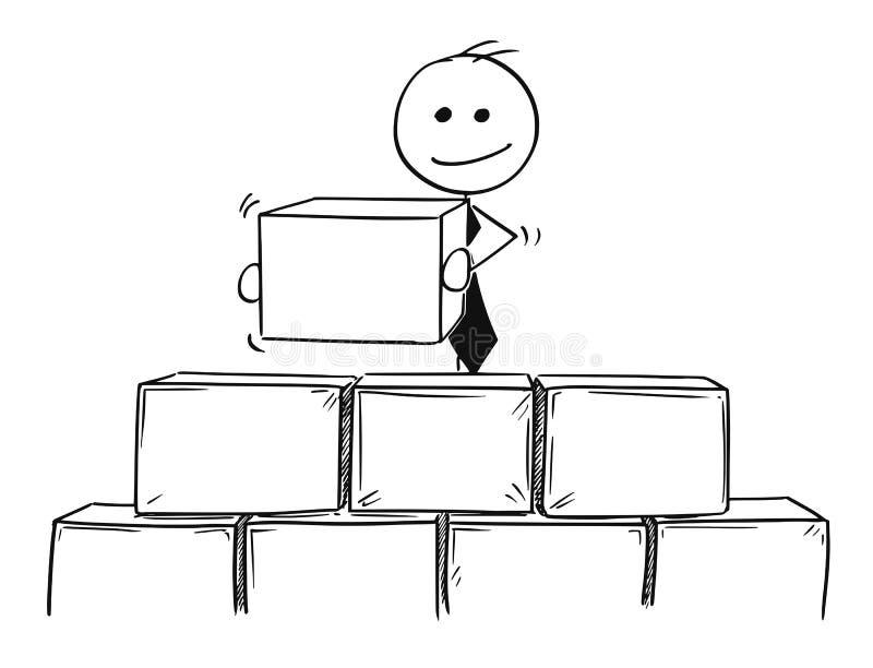 Шарж здания бизнесмена от кирпичей или блоков иллюстрация вектора