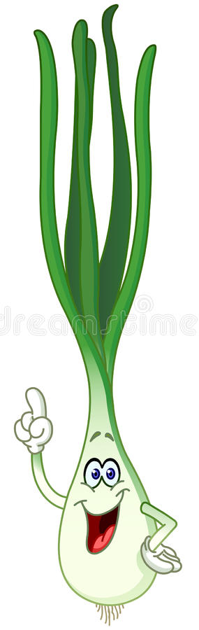 Шарж зеленого лука бесплатная иллюстрация