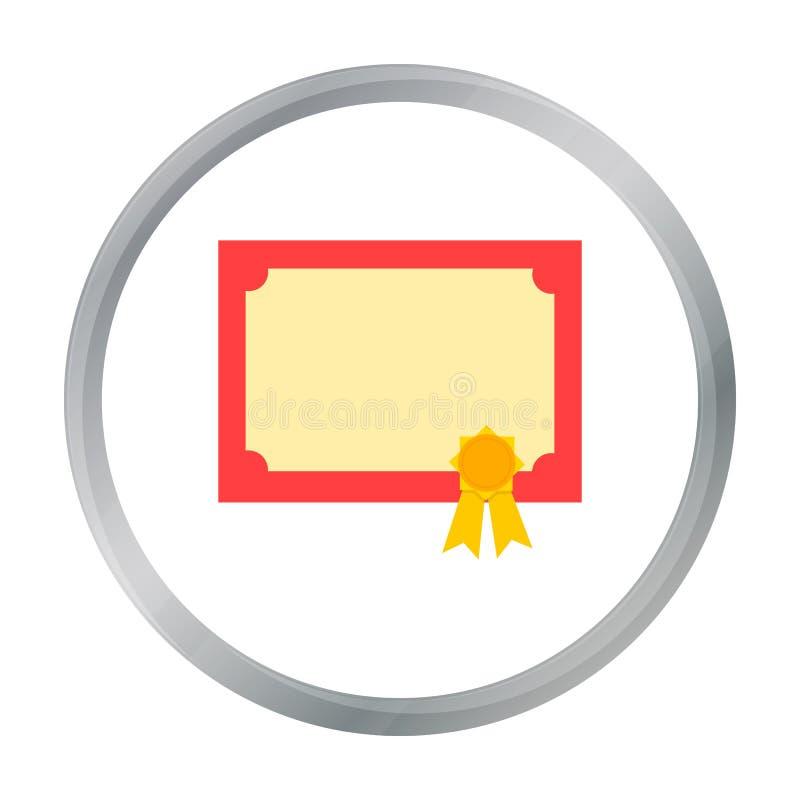 Шарж значка диплома Одиночный значок от большой школы, шарж образования университета бесплатная иллюстрация