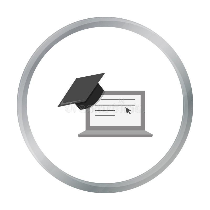 Шарж значка компьтер-книжки Одиночный значок от большой школы, шарж образования университета иллюстрация штока
