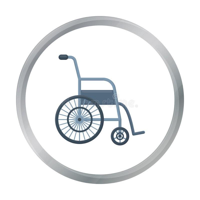 Шарж значка кресло-коляскы Одиночный значок от большая медицинской, шарж медицины здравоохранения иллюстрация вектора
