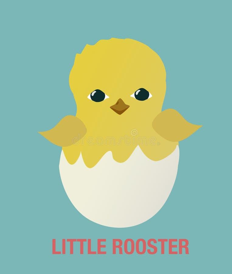 Шарж значка маленького цыпленка крана петуха плоский простой Вектор символа Нового Года бесплатная иллюстрация