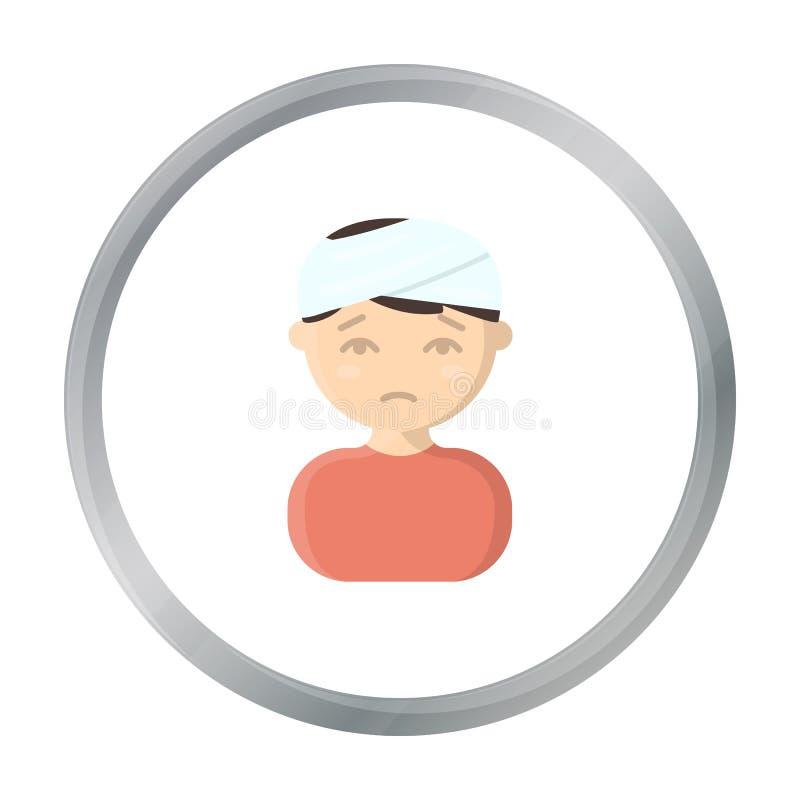 Шарж значка повреждения головы Определите больной значок от большой беды, шарж заболеванием иллюстрация штока