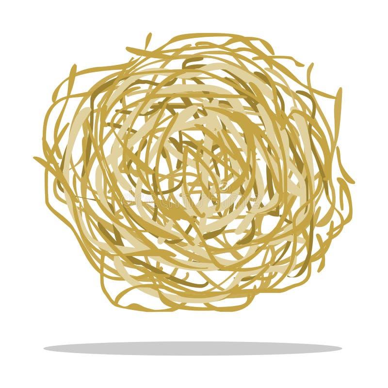 Шарж значка Tumbleweed Значок Singe западный от комплекта Диких Западов иллюстрация вектора