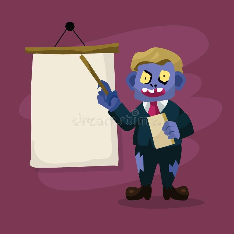 Шарж зомби учителя также вектор иллюстрации притяжки corel иллюстрация штока