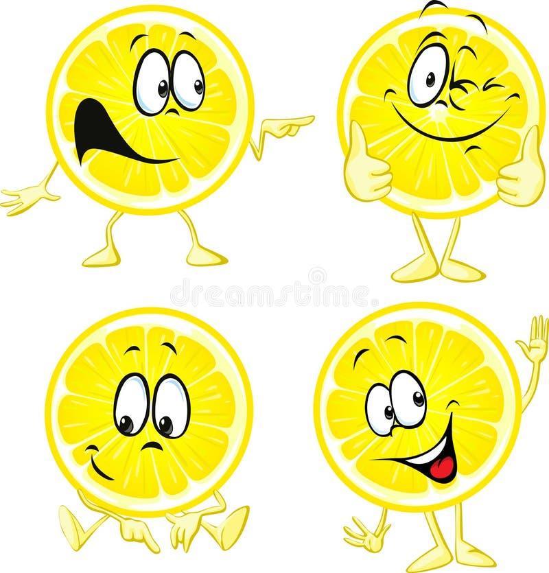 Шарж лимона - смешная изолированная иллюстрация иллюстрация вектора