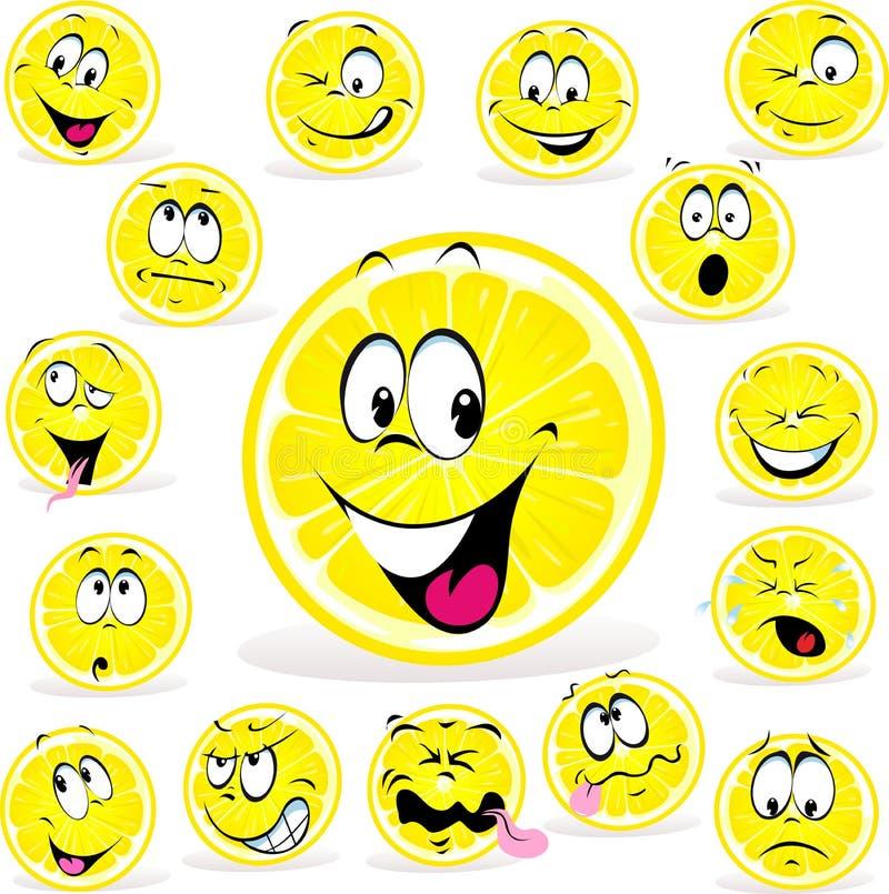 Шарж лимона с много выражений бесплатная иллюстрация
