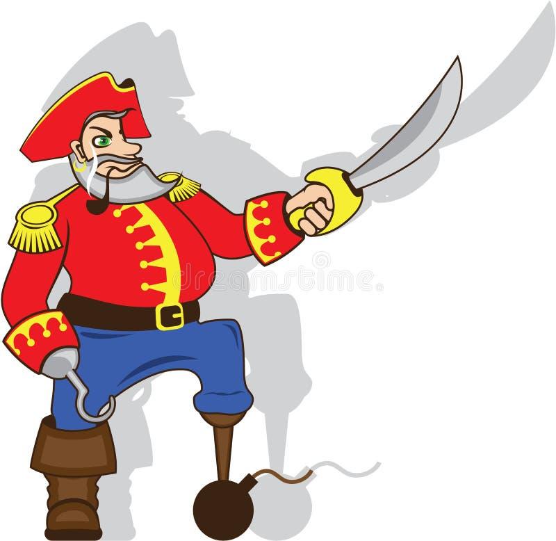 Шарж капитана храбрый иллюстрация штока