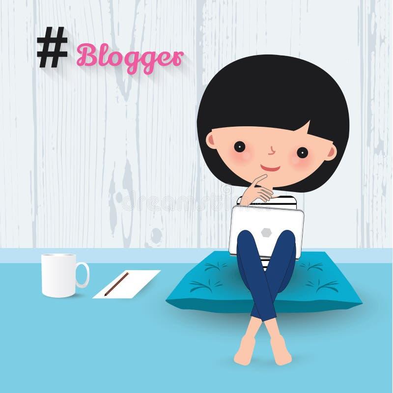 Шарж компьтер-книжки женщины блоггера бесплатная иллюстрация