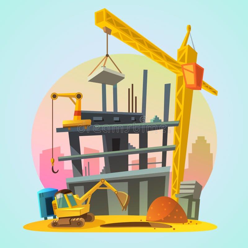 Шарж конструкции дома иллюстрация вектора