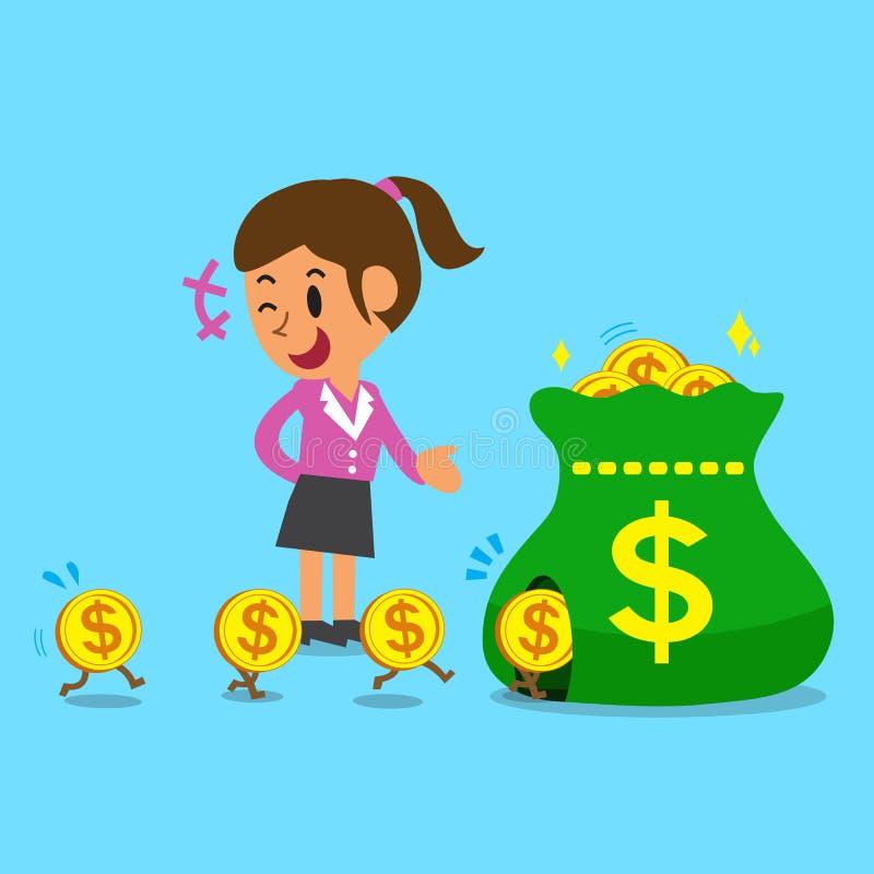 Шарж концепции дела деньги заработка коммерсантки иллюстрация вектора