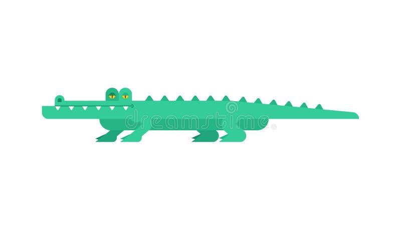 Шарж крокодила Зеленый цвет аллигатора иллюстрация вектора гада croc иллюстрация штока