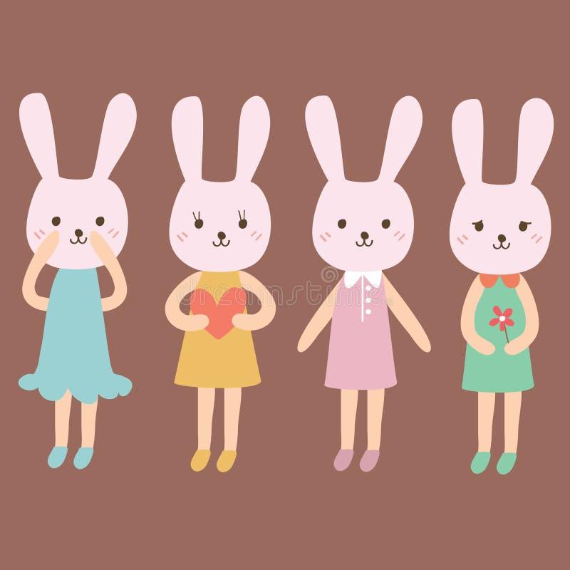 Шарж кролика в различные одежды иллюстрация штока