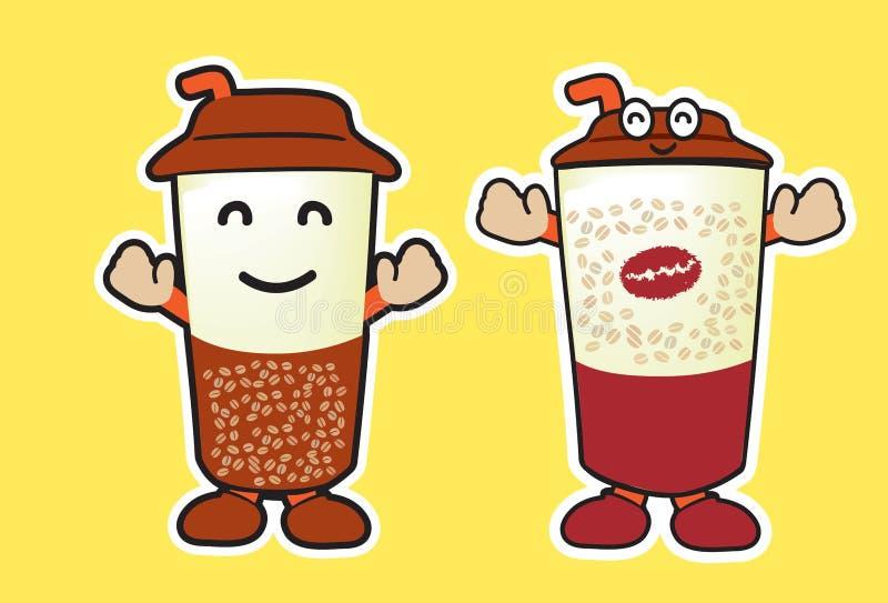 Шарж кружки кофе стоковая фотография