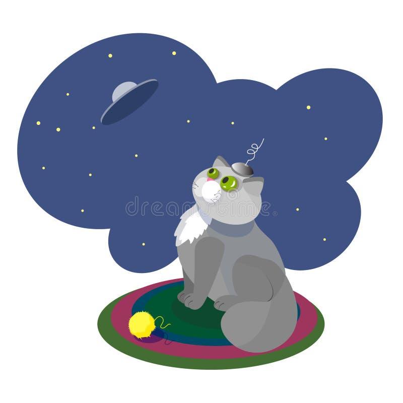 Шарж летающей тарелки космоса кота иллюстрации вектора смешной бесплатная иллюстрация
