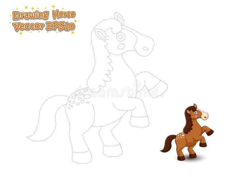 Шарж лошади чертежа и краски милый Воспитательная игра для детей бесплатная иллюстрация