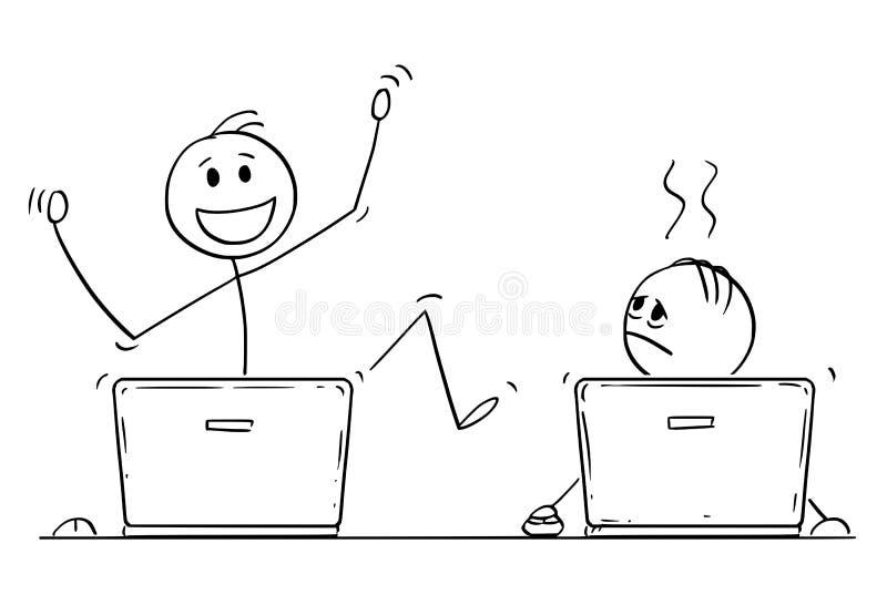 Шарж 2 людей или бизнесменов работая на портативных компьютерах Первое праздновать успех, второе одно подавлено бесплатная иллюстрация
