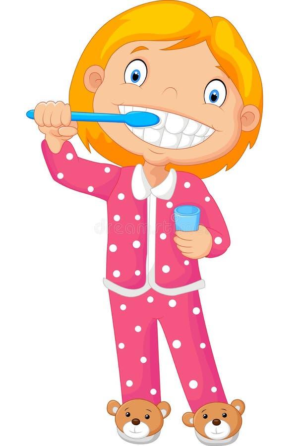 Шарж маленькая девочка чистя ее зуб щеткой иллюстрация вектора