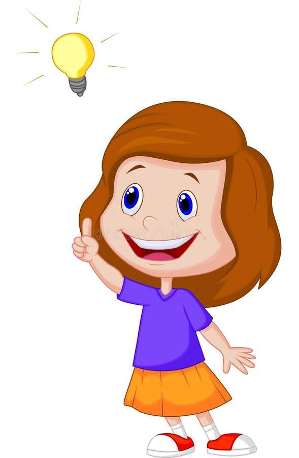 Шарж маленькой девочки с большой идеей бесплатная иллюстрация