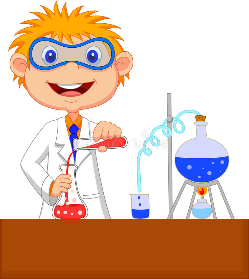 Шарж мальчика делая химический эксперимент иллюстрация штока