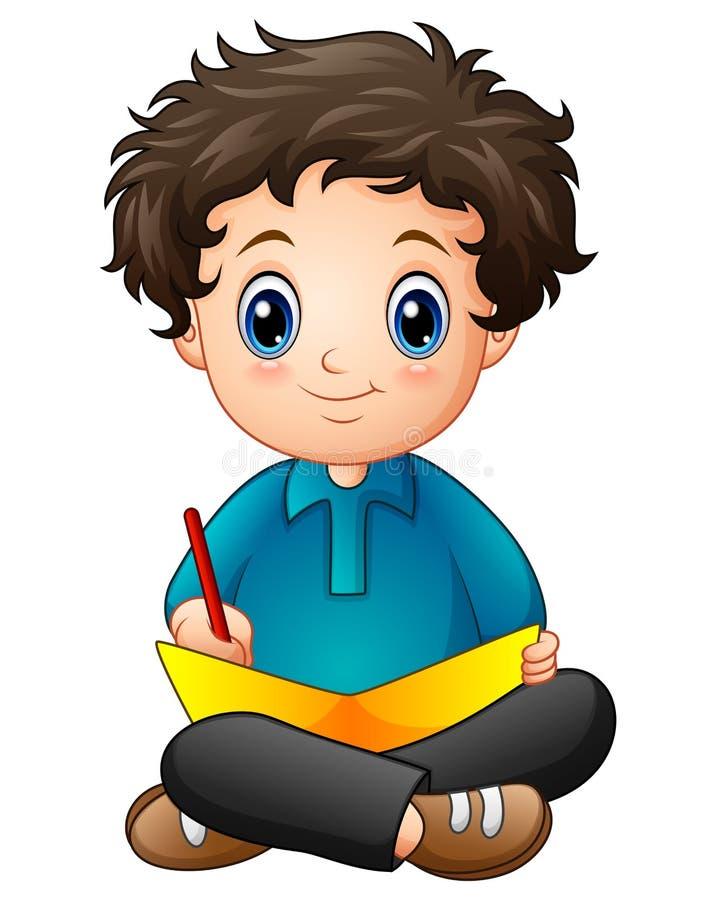 Шарж мальчика писать книгу иллюстрация вектора