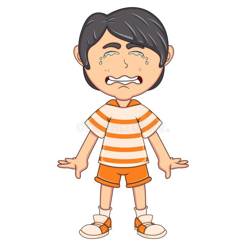 Шарж мальчика плача бесплатная иллюстрация