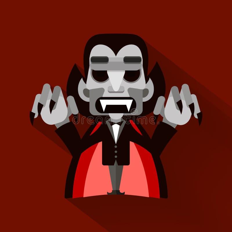 Шарж милое Дракула в плаще halloween счастливый бесплатная иллюстрация