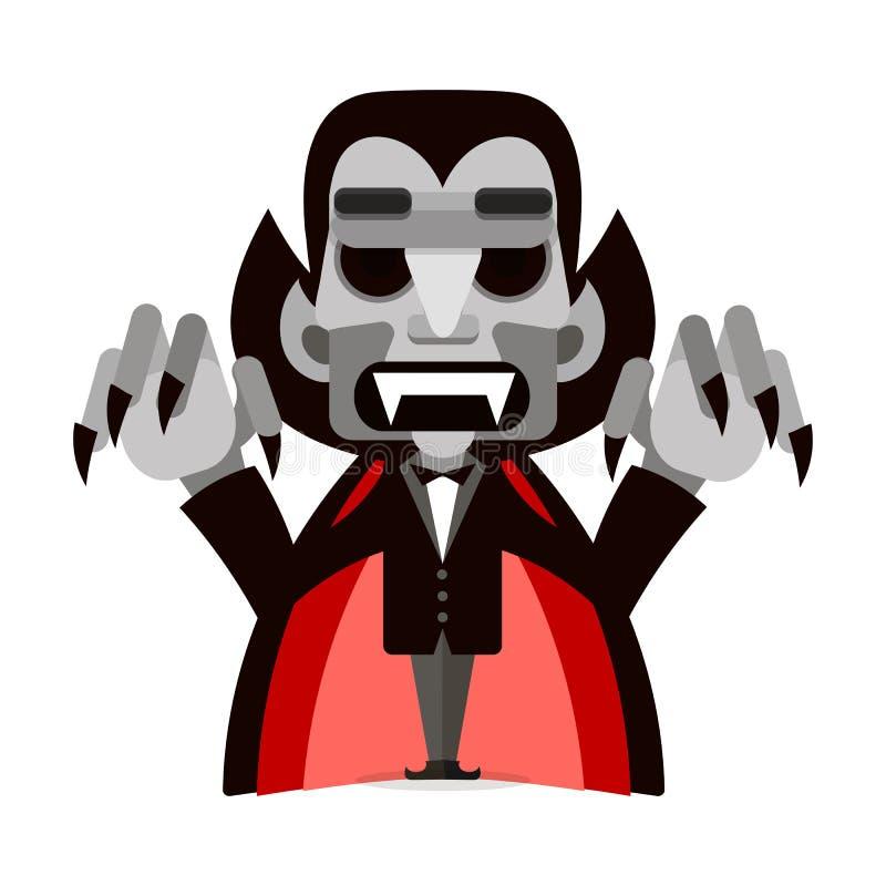 Шарж милое Дракула в плаще halloween счастливый иллюстрация штока
