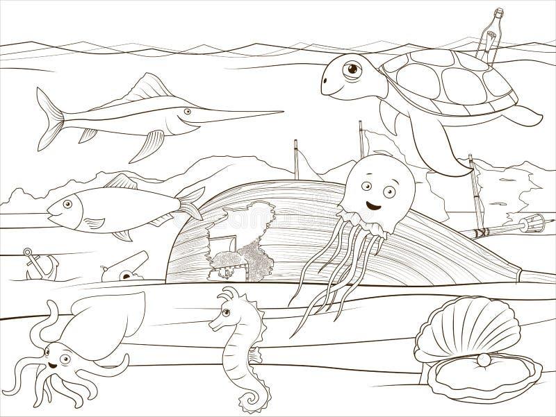 Шарж морской жизни книжка-раскраски воспитательный иллюстрация вектора