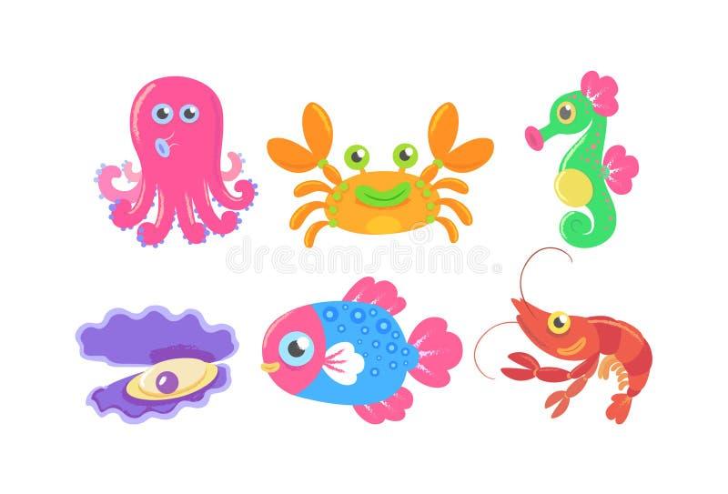 Шарж морской флоры и фауны иллюстрация штока