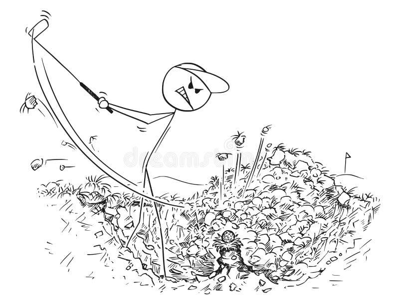 Шарж мужского игрока гольфа в отверстии травы бесплатная иллюстрация