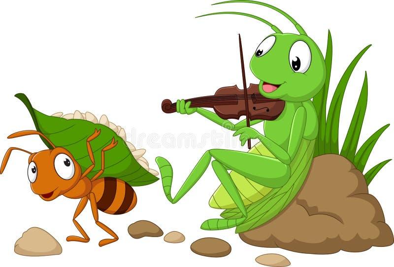 Шарж муравей и кузнечик иллюстрация вектора