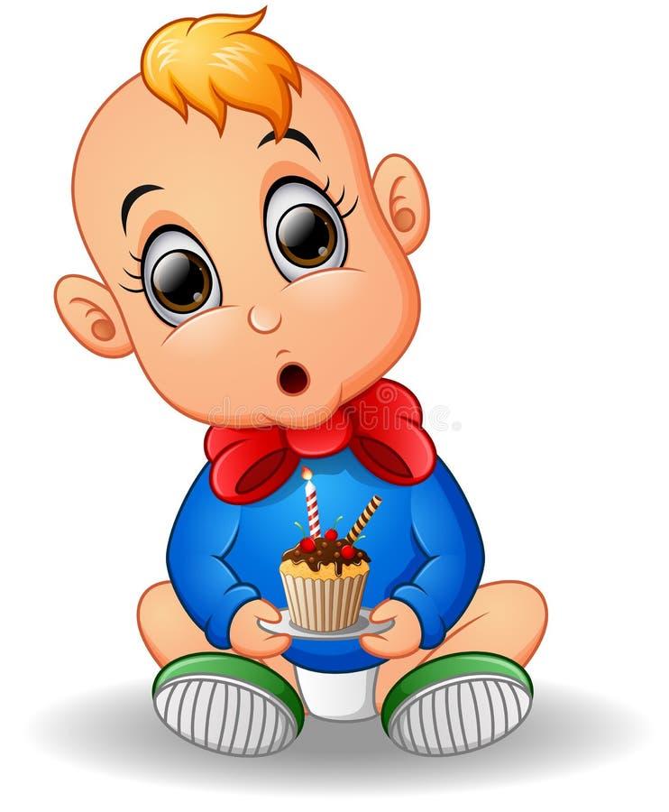 Шарж младенца держа именниный пирог иллюстрация штока