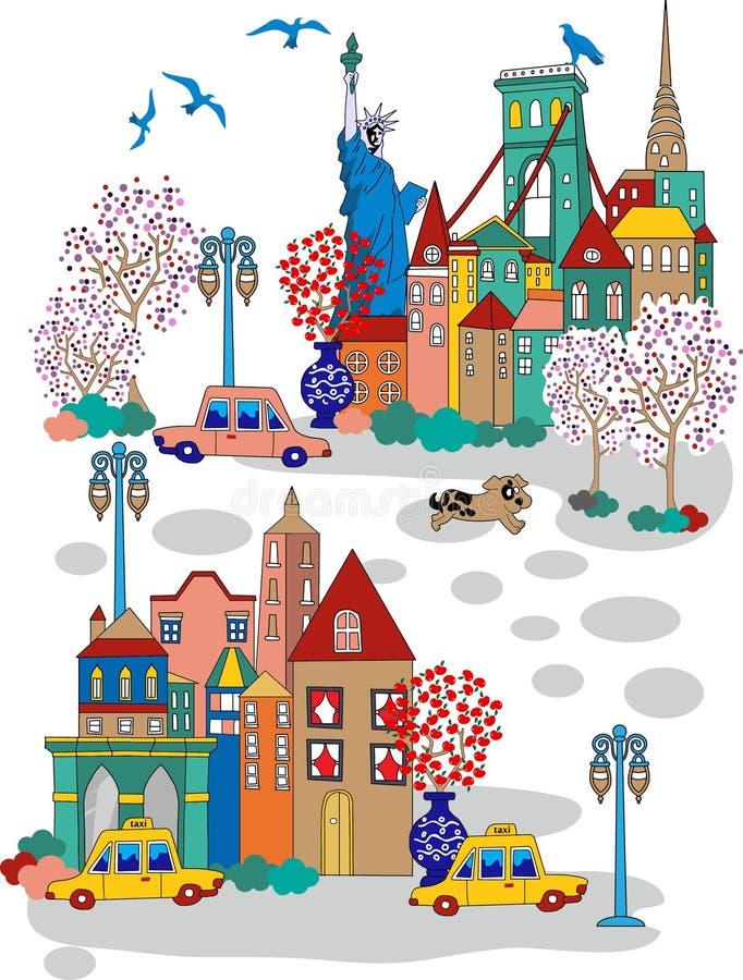 Шарж Нью-Йорка бесплатная иллюстрация