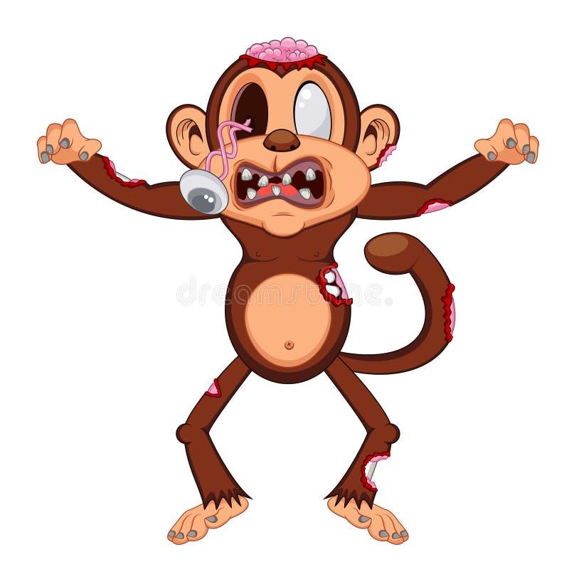 Шарж обезьяны зомби бесплатная иллюстрация