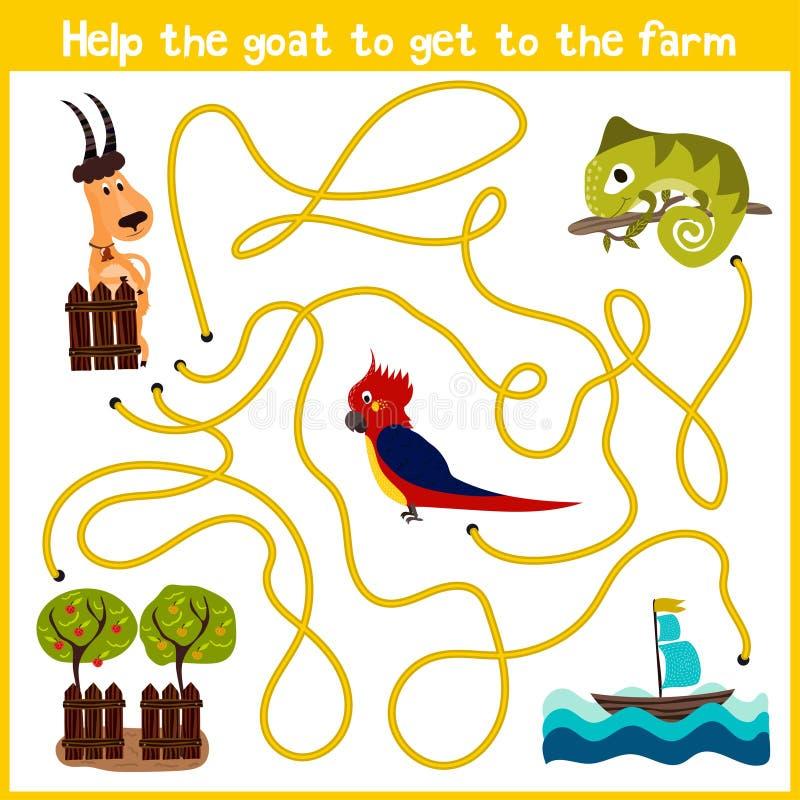 Шарж образования будет продолжать дом логического пути красочных животных Помогите получить дом козы к ферме на правом PA бесплатная иллюстрация
