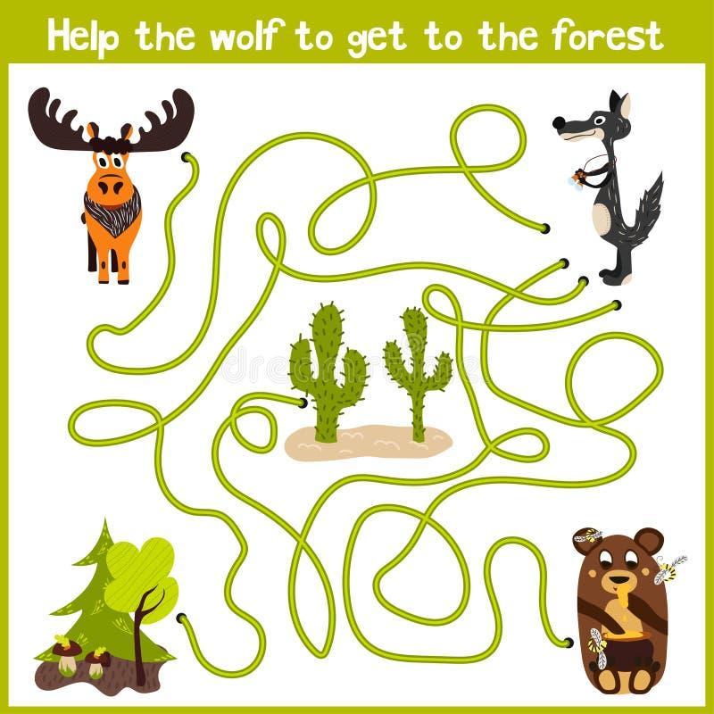 Шарж образования будет продолжать дом логического пути красочных животных Принесите дом серого волка к fairy лесу на стоковое изображение rf
