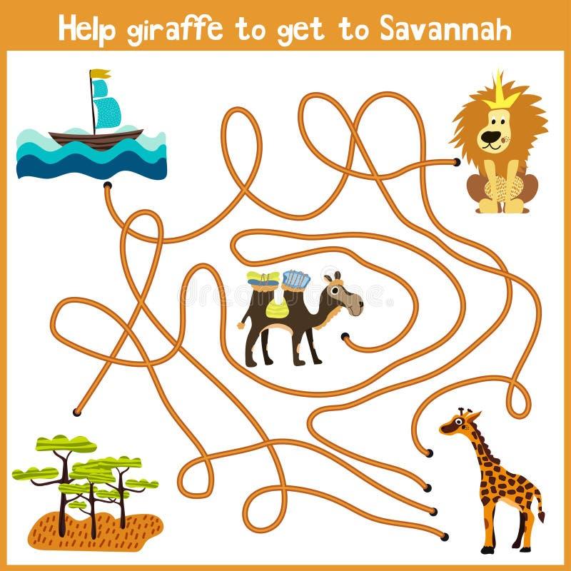 Шарж образования будет продолжать дом логического пути красочных животных Помогите жирафу получить дом к территории Sava иллюстрация штока